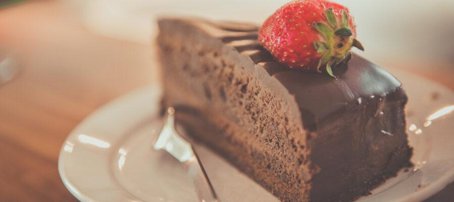 Blick auf ein Stück Kuchen